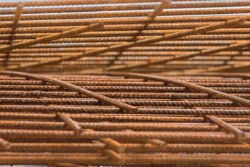 steel rebar for reinforced concrete in a construction