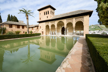 The Partal gardens of Alhambra in Granada