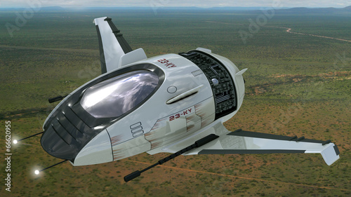 Fantasy 3D drone model for sci-fi alien war spacecrafts