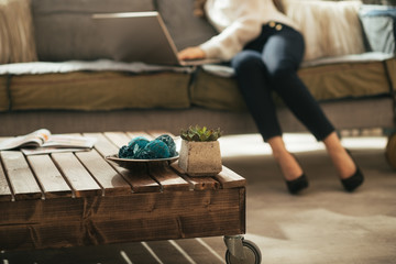Closeup on coffee table and woman using laptop in background