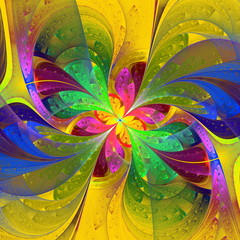 Multicolor beautiful fractal flower on yellow background. Comput