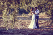 Leinwanddruck Bild - Just married couple in nature background