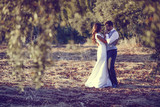 Fototapety Just married couple in nature background