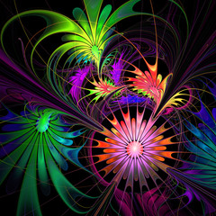 Flower background. Purple and green palette. Fractal design. Com