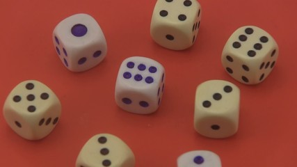 Dice on a red background.