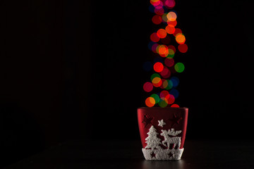 Red Christmas Candle Holder with deer and Christmas lights