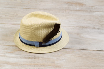 Straw Hat with Bird Feather on Faded Wood