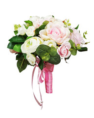 Beautiful wedding bouquet from white and pink roses.