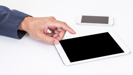 Business man hand touching blank screen tablet computer