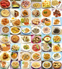 Collage de alimentos cocinados