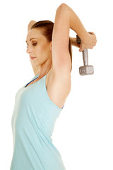 woman blue tank side weight behind head