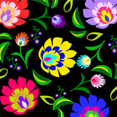 Traditional Polish folk floral pattern vector