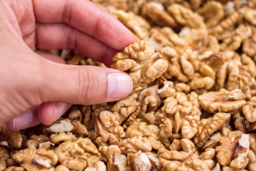 closeup hand with walnuts in a pile