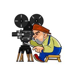 cartoon character videographer at work