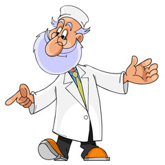 cartoon character man with a beard, doctor, paramedic