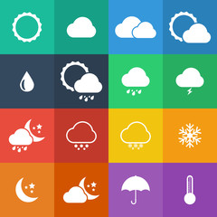 Flat Color style weather icon vector set.