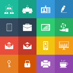Flat Color style Business and office icons vector set.