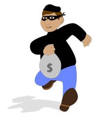 ladro con sacchetto della refurtiva