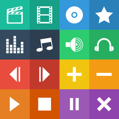 Flat Color style media player icons vector set.