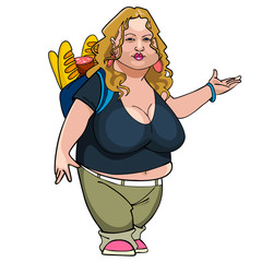 cartoon fat woman with loaves and sausage