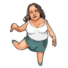 cartoon fat girl dancing