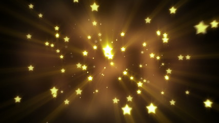 gold star shapes flying loopable background