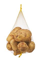 Crude, rotten, spoiled, organic potatoes in mesh bag.
