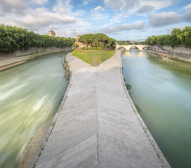 Tiber Island with the Ponte Cestio in Rome, Italy