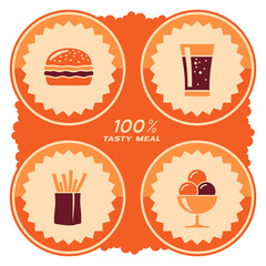 Fast food label design. Vector illustration