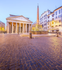 Pantheon view at night light. Rome, Italy