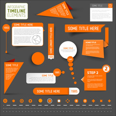Orange infographic timeline elements on dark background