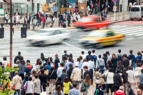 Deurstickers Tokyo Straßenkreuzung in Tokio