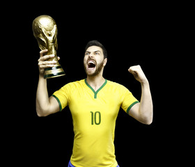 Brazilian soccer player celebrates holding a trophy
