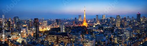 Deurstickers Aziatische Plekken Tokyo Panorama bei Nacht