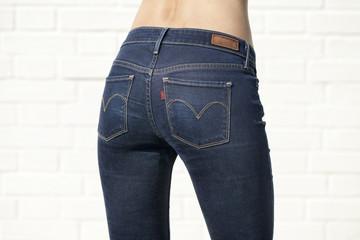 Body part blue female jeans