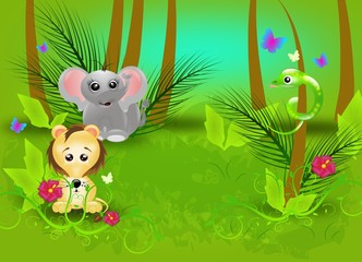 Jungle background with animals