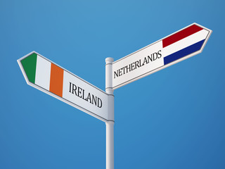 Netherlands Ireland  Sign Flags Concept
