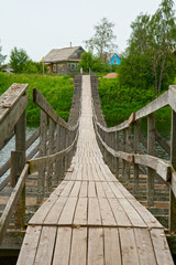 Old wooden suspension bridge