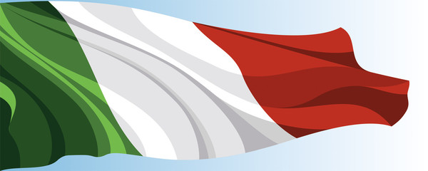 The national flag of the Italy on a background of blue sky
