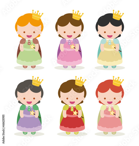 princesses set, 6 colors of cloth