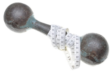 Old dumbbell and meter isolated on white background