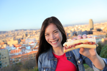 Jamon Serrano Sandwich - woman eating in Barcelona