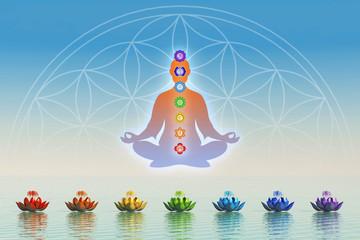 In Meditation mit Chakren über dem Wasser