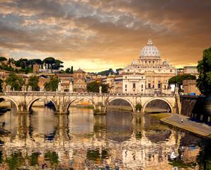 Basilica di San Pietro with bridge in Vatican, Rome, Italy