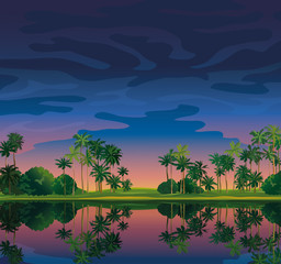 Tropical landscape with sanset sky.