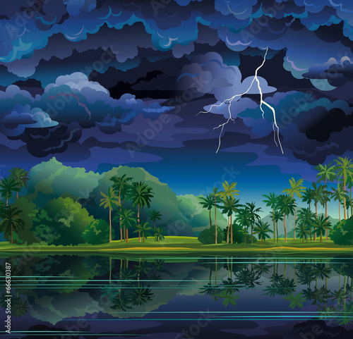 Tropical landscape with lightning and palms. - 66630387