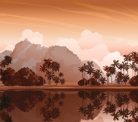 Tropical landscape. Nature vector.