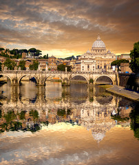 Basilica di San Pietro with bridge in Vatican, Rome, Italy