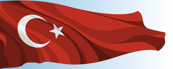 The national flag of the Turkey on a background of blue sky
