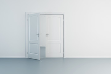 empty white room with opened door